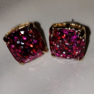 Kate Spade Pink Square with Glitter Earrings